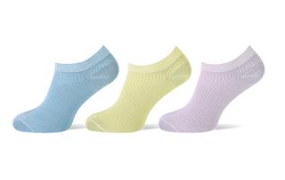 Sneaker sokken 3-pack glitters blauw-geel-roze
