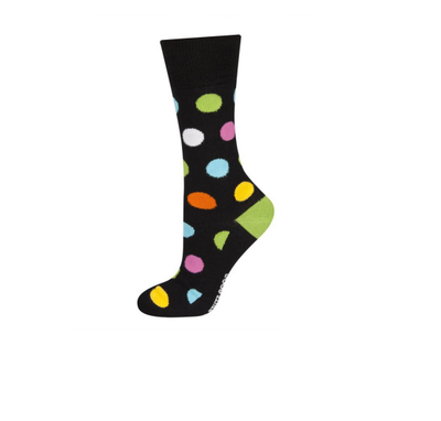 Sokken zwart met gekleurde stippen maat 40-45
