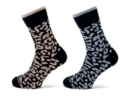 Damessokken 2-pack wolmix luipaard print