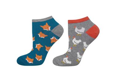 Sneaker sokken kippen en vosjes maat 40-45