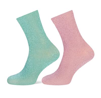 Glittersokken mintgroen/roze maat 36-42