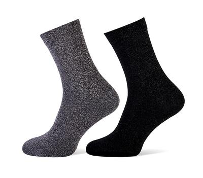 Glittersokken zwart/grijs maat 36-42