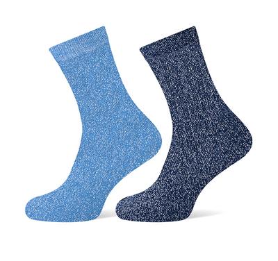 Glittersokken blauw maat 36-42