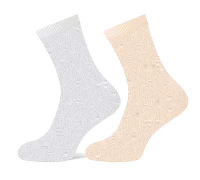 Glittersokken beige/wit maat 36-42
