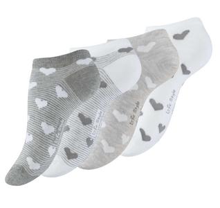Sneaker sokken 4-pack damessokken hartjes maat 39-42