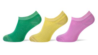 Sneaker sokken 3-pack glitters groen-geel-roze