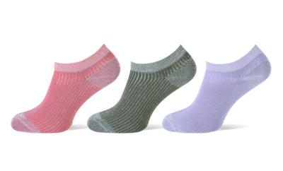 Sneaker sokken 3-pack glitters koraal-khaki-lila