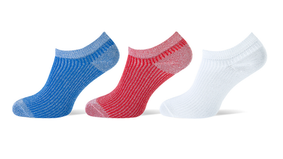 Sneaker sokken 3-pack glitters rood-wit-kobalt